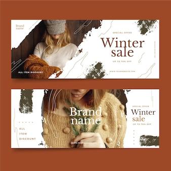 Ręcznie rysowane szablon banery sprzedaży zimowej