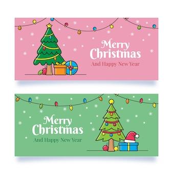 Ręcznie rysowane szablon banery świąteczne