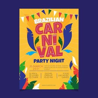 Ręcznie rysowane szablon brazylijskiego karnawału plakat