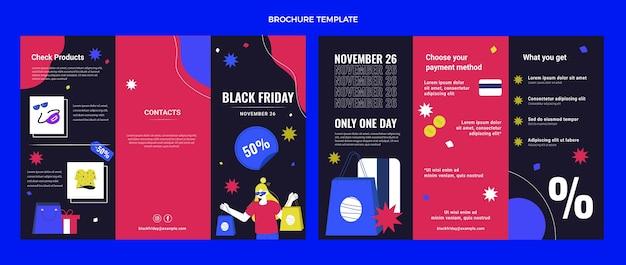 Ręcznie rysowane szablon broszury płaski czarny piątek