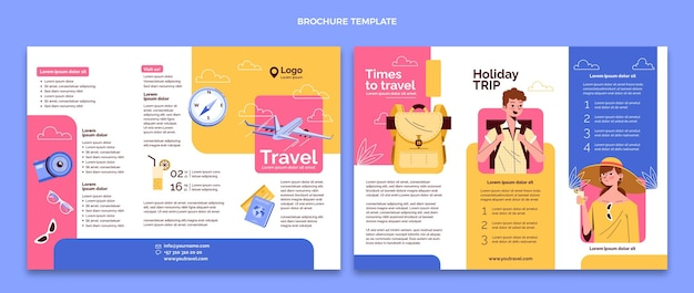 Ręcznie rysowane szablon broszury trójdzielnej podróży