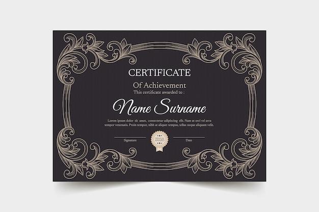 Ręcznie rysowane szablon certyfikatu ozdobnych