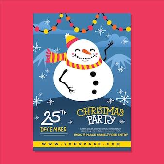 Ręcznie rysowane szablon christmas party plakat