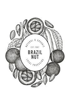 Ręcznie rysowane szablon etykiety gałęzi orzechów brazylijskich i jąder.