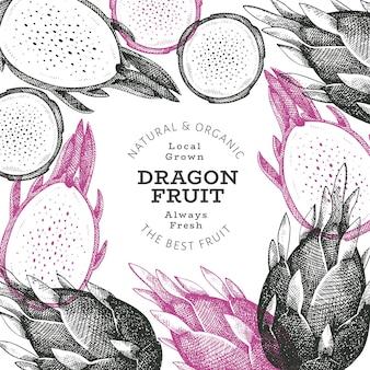 Ręcznie rysowane szablon etykiety owoc smoka.