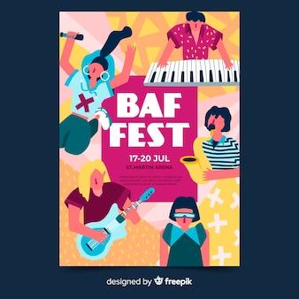 Ręcznie rysowane szablon festiwalu festiwalu muzyki