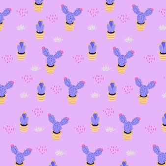 Ręcznie rysowane szablon fioletowy kaktus wzór