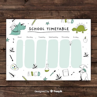 Ręcznie rysowane szablon harmonogramu szkoły