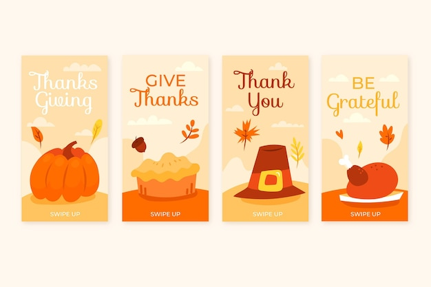 Ręcznie rysowane szablon historii na instagramie dziękczynienia