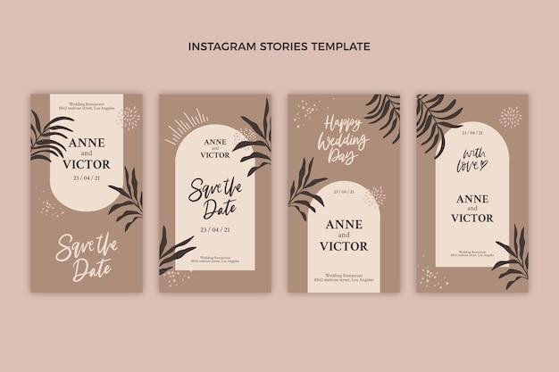 Ręcznie rysowane szablon historii ślubnych na instagramie