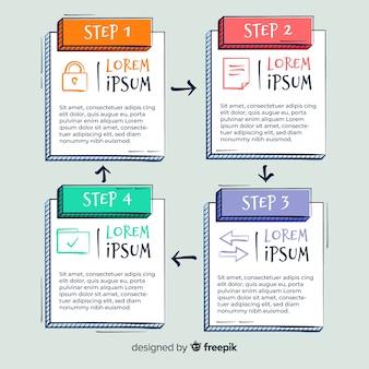 Ręcznie rysowane szablon infographic kroki
