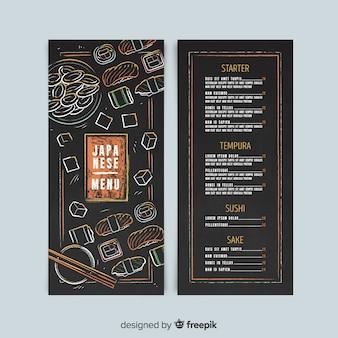 Ręcznie rysowane szablon japoński menu