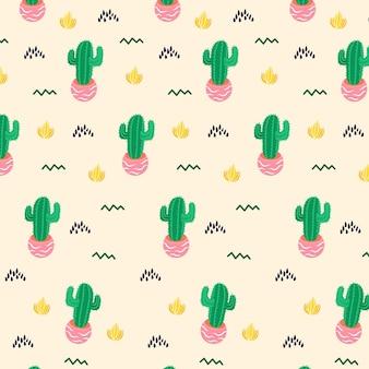 Ręcznie rysowane szablon kaktus wzór