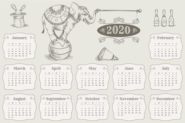 Ręcznie rysowane szablon kalendarza 2020