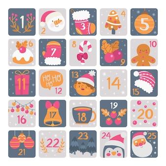 Ręcznie rysowane szablon kalendarza adwentowego
