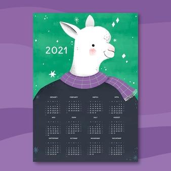 Ręcznie rysowane szablon kalendarza nowy rok 2021