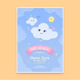 Ręcznie rysowane szablon karty baby shower z chuva de amor