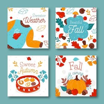 Ręcznie rysowane szablon karty jesień