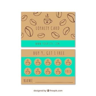 Ręcznie rysowane szablon karty lojalnościowej kawiarni