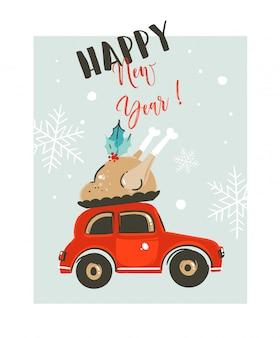 Ręcznie rysowane szablon karty merry christmas time coon ilustracja z czerwonym samochodem dostarcza indyka na obiad i nowoczesną typografię szczęśliwego nowego roku na białym tle