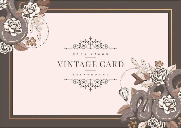 Ręcznie rysowane szablon karty vintage z ornamentem węża