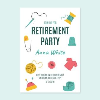 Ręcznie rysowane szablon karty z pozdrowieniami emerytury