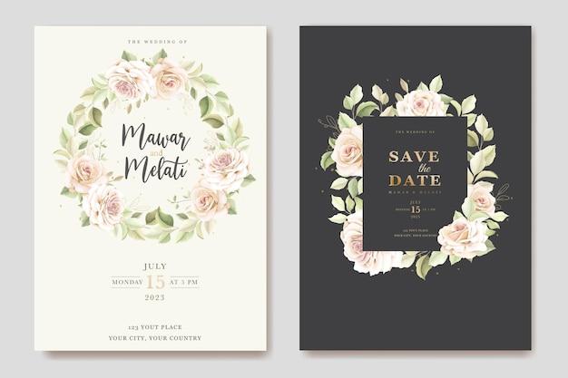 Ręcznie rysowane szablon karty zaproszenia róż