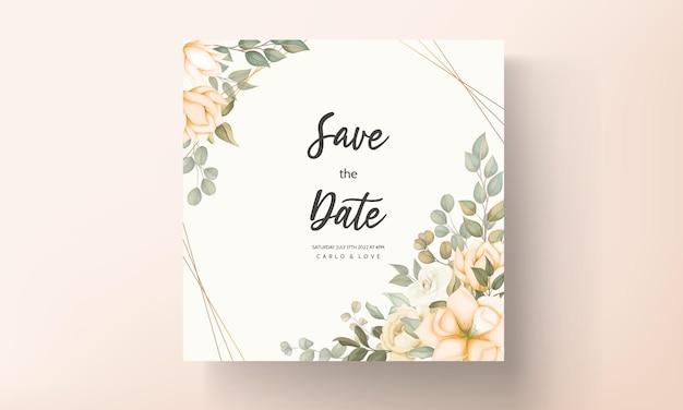 Ręcznie rysowane szablon karty zaproszenie na ślub kwiatowy
