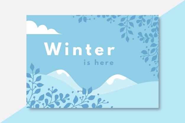 Ręcznie rysowane szablon karty zima