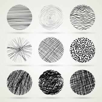 Ręcznie rysowane szablon kółka bazgrołów monochromatyczna ilustracja kreatywna vector