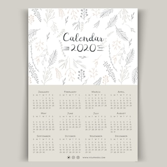 Ręcznie rysowane szablon kwiatowy kalendarz 2020