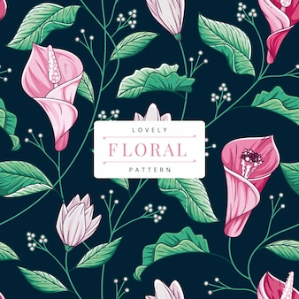 Ręcznie rysowane szablon kwiatowy wzór