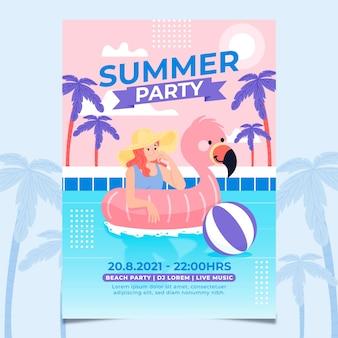 Ręcznie rysowane szablon letniej imprezy plakat