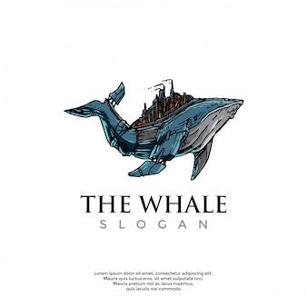 Ręcznie rysowane szablon logo wieloryba steampunk