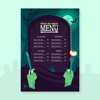 Ręcznie rysowane szablon menu halloween