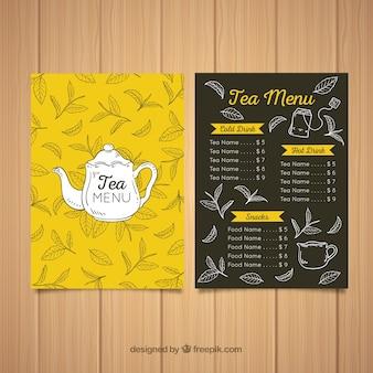 Ręcznie rysowane szablon menu herbaty