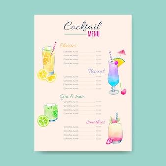 Ręcznie rysowane szablon menu koktajli