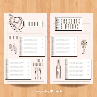 Ręcznie rysowane szablon menu kurczaka