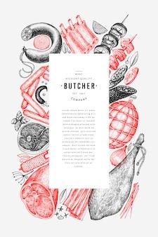 Ręcznie rysowane szablon menu ramki szynka, kiełbasy, jamon, przyprawy i zioła