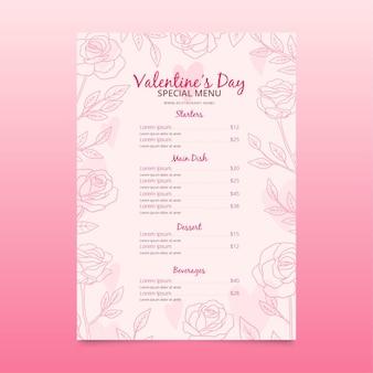 Ręcznie rysowane szablon menu restauracji walentynki