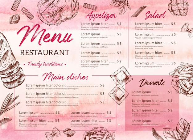Ręcznie rysowane szablon menu restauracji