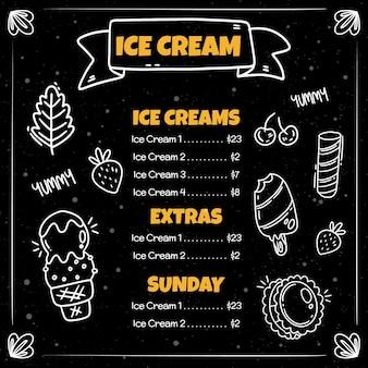 Ręcznie rysowane szablon menu tablica lody