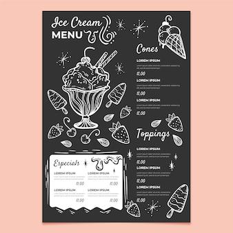 Ręcznie rysowane szablon menu tablicy lodów