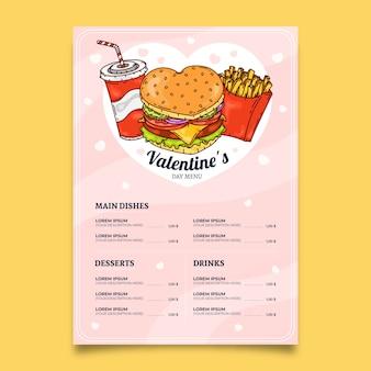 Ręcznie rysowane szablon menu walentynki z pyszne posiłki