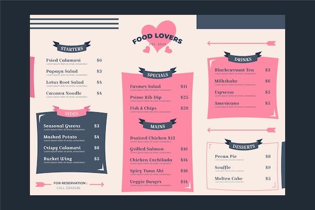 Ręcznie rysowane szablon menu walentynki