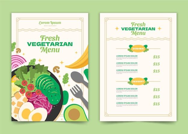 Ręcznie rysowane szablon menu wegetariańskiego
