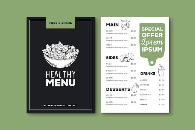 Ręcznie rysowane szablon menu zdrowej żywności