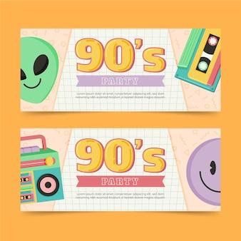 Ręcznie rysowane szablon nostalgicznych banerów z lat 90.