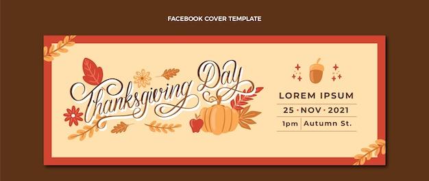 Ręcznie rysowane szablon okładki mediów społecznościowych na święto dziękczynienia