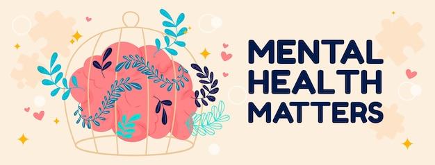 Ręcznie rysowane szablon okładki mediów społecznościowych na temat zdrowia psychicznego
